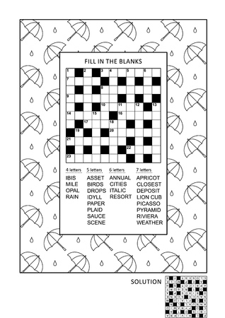 fill in: Puzzle and coloring activity page for grownups.