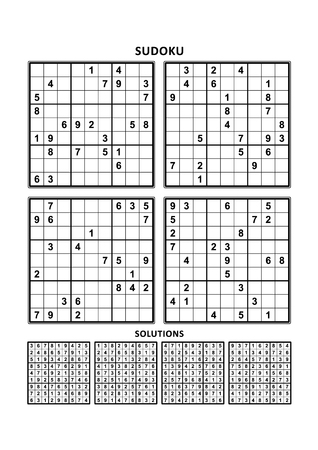 Four sudoku puzzles of comfortable (easy, yet not very easy) level, on A4 or Letter sized page with margins, suitable for large print books, answers included. Set 3.