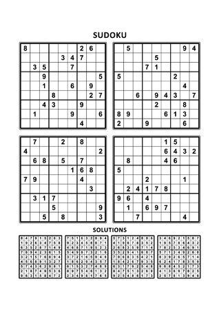 suitable: Four sudoku puzzles of comfortable (easy, yet not very easy) level, on A4 or Letter sized page with margins, suitable for large print books, answers included. Set 4.