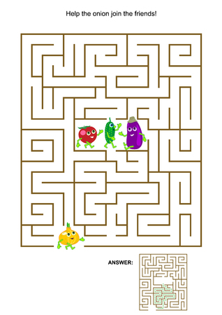 onions: Maze game with cute vegetable characters Illustration