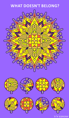 Abstract visual puzzle with mandala-like decorative centerpiece: What doesnt belong? Answer included. Illustration