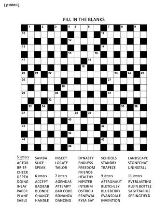 Puzzle-Seite mit 19 x 19 Kreuzworträtsel (oder ausfüllen, sonst kriss-kross), einem englischen Wortspiel. Schwarzweiß, A4 oder Letter. Die Antwort befindet sich in einer separaten Datei.