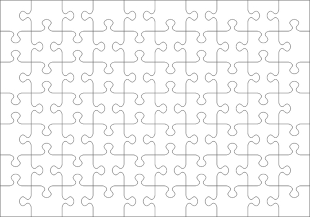 Puzzle blank template or cutting guidelines of 70 transparent pieces Ilustração