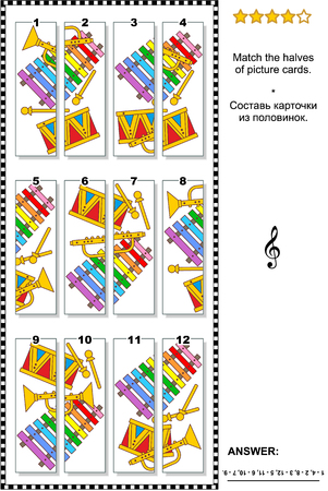 iq: Visual puzzle: Match the halves of cards with colorful toy musical instruments. Answer included.