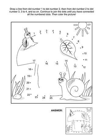 Grote paddestoel, moeder en baby slakken verbinden de stippen beeldpuzzel en kleurplaat. Antwoord inbegrepen. Stock Illustratie
