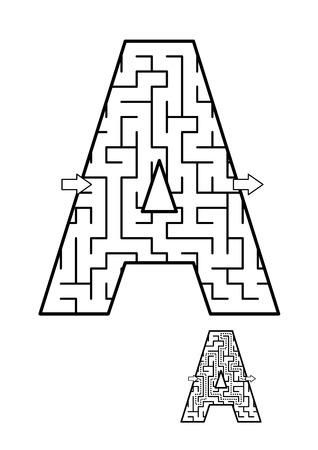 다시 학교로 또는 어린이를위한 정규 학습 강화 알파벳 활동 - 편지 미로. 그대로 사용하거나 재미있는 만화 캐릭터를 추가하십시오. 답변 포함. 스톡 콘텐츠 - 82151710
