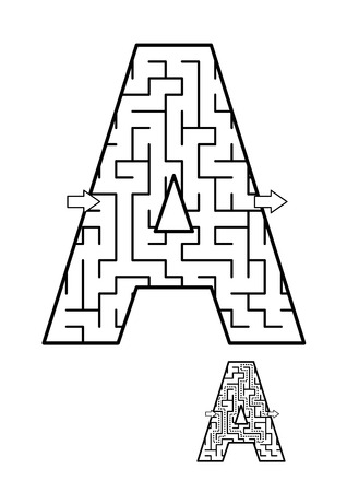 Back to school or regular learning reinforcement alphabet activity for kids - letter A maze. Use as is or add fun cartoon characters. Answer included. Imagens - 82151710