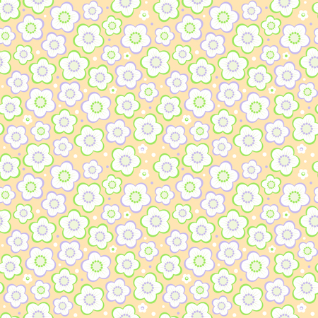 Seamless (easy to repeat - you see 4 tiles) floral pattern (background, wallpaper, print, swatch) of pastel colors Illustration