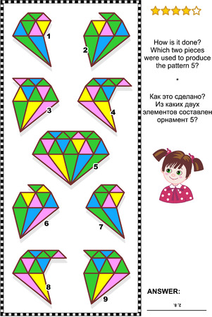IQ training abstract visual puzzle: How is it done? Which two pieces were used to produce the pattern 5? Answer included. Reklamní fotografie - 82741754