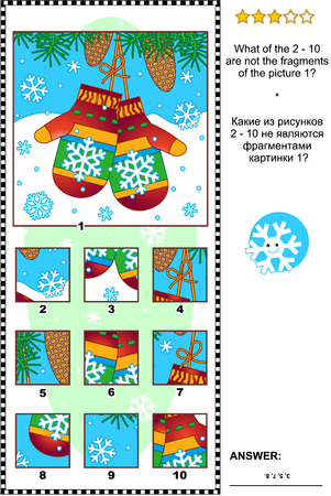 Christmas, winter or New Year visual logic puzzle with mittens: What of the 2 - 10 are not the fragments of the picture 1?  Answer included. Vettoriali