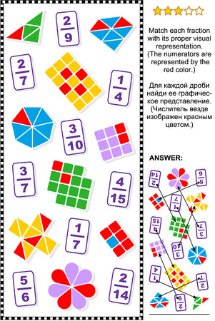proper: Educational math puzzle for learning and teaching fractions: Match each fraction to its proper visual representation.  Answer included.