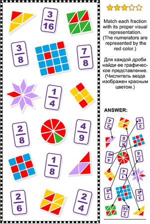 Rompecabezas matemático educativo para aprender y enseñar fracciones: Relacionar cada fracción con su representación visual adecuada. Respuesta incluida. Ilustración de vector