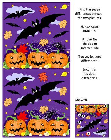 Rompecabezas visual temático de Halloween: Encuentra las siete diferencias entre las dos imágenes de murciélagos voladores, campo de calabazas, arañas. Respuesta incluida