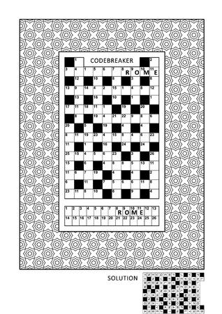 어른을위한 코드 브레이커, 코드 워드, 코드 크래커 워드 게임 (영어) 및 다양한 장식 프레임이있는 퍼즐 및 채색 활동 페이지입니다. 가족 친화적 인.