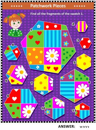 Quilten of patchwork thema IQ training visuele puzzel (geschikt voor zowel kinderen als volwassenen): Vind alle fragmenten van de afbeelding 1. Antwoord inbegrepen.