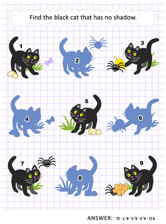 Halloween themed visual puzzle or picture riddle with black cat: Find the picture that has no shadow. Answer included.