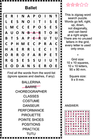 Ballet themed zigzag word search puzzle (suitable both for kids and adults). Answer included. Ilustração