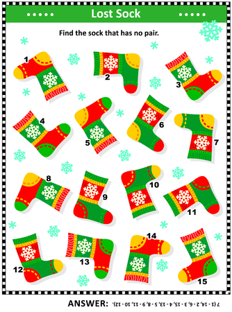 Winter, Christmas or New Year themed visual puzzle (suitable both for kids and adults): Find the sock that has no pair. Answer included.