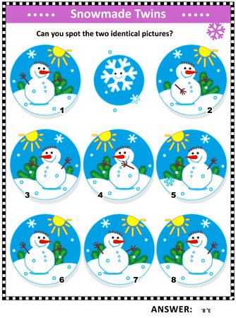Rompecabezas visual temático de invierno, Navidad o año nuevo con muñecos de nieve: ¿Puedes ver las dos imágenes idénticas? Respuesta incluida