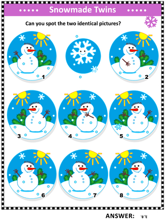 Winter, Christmas or New Year themed visual puzzle with snowmen: Can you spot the two identical pictures? Answer included.