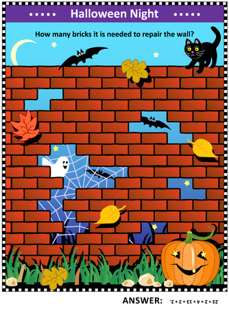 Halloween night themed visual math puzzle with holes in red brick wall: How many bricks it is needed to repair the wall? Answer included.