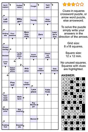 Clues-in-squares kruiswoordpuzzel, of pijlwoordpuzzel, anders pijlwoord of scanwoord. Ware grootte, inclusief antwoord.