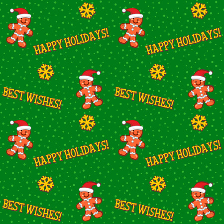 Winter holidays, Christmas, New Year seamless pattern, background, wallpaper, print or swatch with greetings, gingermen and snowfall on green