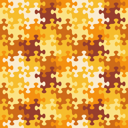 Seamless (you see 4 tiles) jigsaw puzzle pattern, background, print, swatch or wallpaper with whimsically shaped pieces of autumn or camouflage colors Illustration
