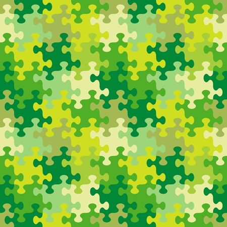 Seamless (you see 4 tiles) jigsaw puzzle pattern, background, print, swatch or wallpaper with whimsically shaped pieces of spring, summer or camouflage colors