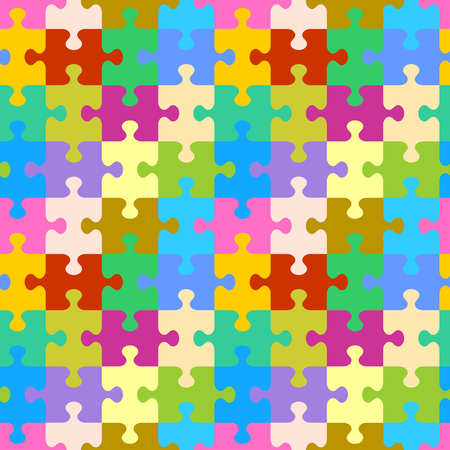 Seamless (you see 4 tiles) colorful jigsaw puzzle pattern, background, print, swatch or wallpaper with classically shaped pieces Illustration