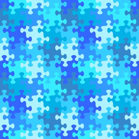 Seamless (you see 4 tiles) jigsaw puzzle pattern, background, print, swatch or wallpaper with whimsically shaped pieces of water or winter blue colors