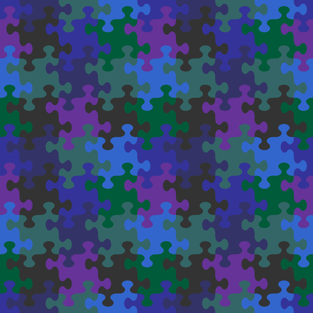 Seamless (you see 4 tiles) jigsaw puzzle pattern, background, print, swatch or wallpaper with whimsically shaped pieces of dark night sky colors