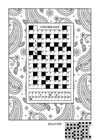 Puzzel- en kleuractiviteitenpagina voor volwassenen met codebreaker of codewoord, anders code-crackerswoordspel (Engels) en breed decoratief kader om in te kleuren. Familie vriendelijk. Antwoord inbegrepen.