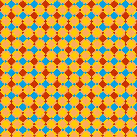 Checked red, blue, gold and ocher seamless pattern, background, wallpaper, print or swatch