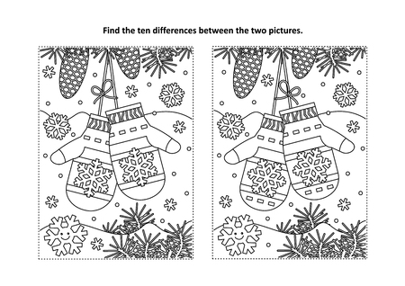 Christmas themed find the ten differences picture puzzle and coloring page.