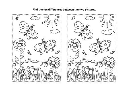 Unter dem Motto Frühlings- oder Sommerfreude finden Sie die zehn Unterschiede Bild Puzzles und Malvorlagen mit Schmetterlingen, Blumen, Gras. Vektorgrafik