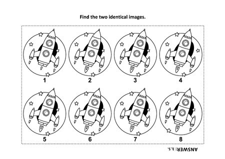 IQ training find the two identical pictures with rocket or spaceship visual puzzle and coloring page. Answer included. Stock Illustratie