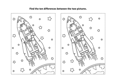 Space exploration themed find the ten differences picture puzzle and coloring page with rocket or spaceship, Earth and stars.