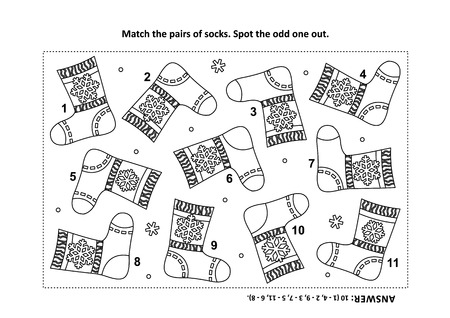 iq training visual logic puzzle and coloring page with santas or somebodys else knitted