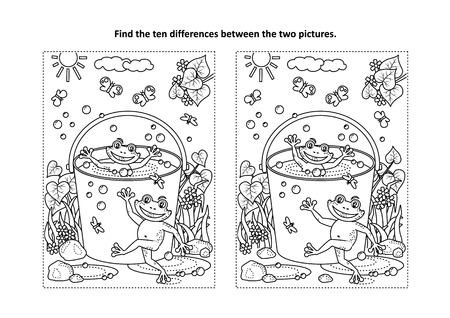 El tema de la alegría de verano, encuentra las diez diferencias de acertijo y página para colorear con felices ranas juguetonas nadando en un cubo lleno de agua