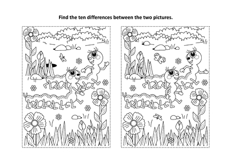 Spring or summer themed find the ten differences picture puzzle and coloring page with two cute caterpillars walking in the garden.