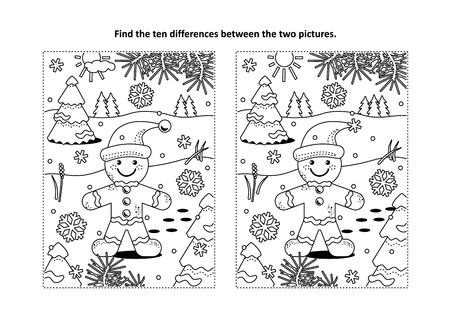 Winter holidays, Christmas or New Year themed find the ten differences picture puzzle and coloring page with ginger man cookie. Illustration
