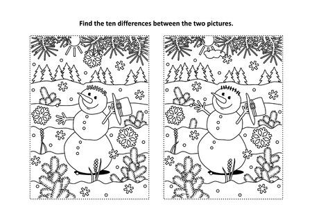 Férias de inverno, esboços temáticos para livros de colorir e atividades infantis