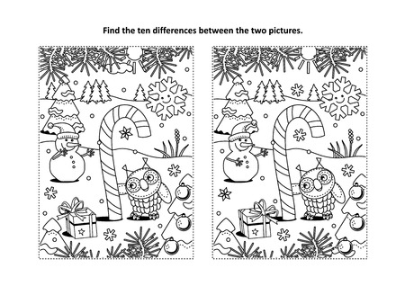 Find the differences picture puzzle and coloring page in winter holiday theme. Stock Illustratie