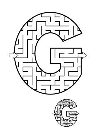 알파벳 학습 재미와 아이들을위한 교육 활동 - 편지 G 미로 게임. 답변 포함. 일러스트