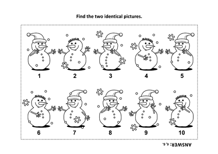 IQ training find the two identical pictures with snowman visual puzzle and coloring page vector illustration Vectores