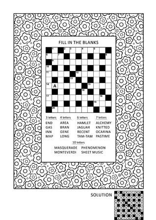 Puzzle and coloring activity page for grown-ups with criss-cross, or fill in, else kriss-kross word game (English) and wide decorative floral frame to color. Family friendly. Answer included. Illustration