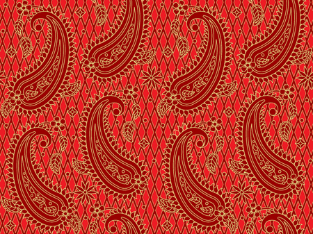 Seamless (you see two tiles) red and gold paisley pattern, print, swatch, background or wallpaper, suitable for holiday, celebrations, Christmas designs and projects.