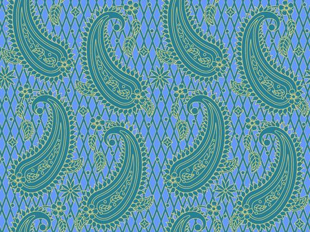 Blue and gold paisley pattern, print, swatch, wallpaper.