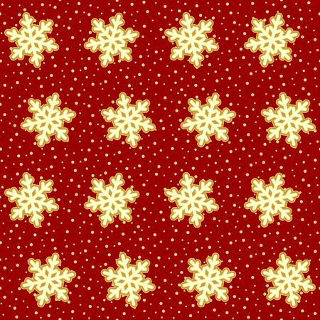 Red and gold fluffy snowflakes and snowfall pattern.